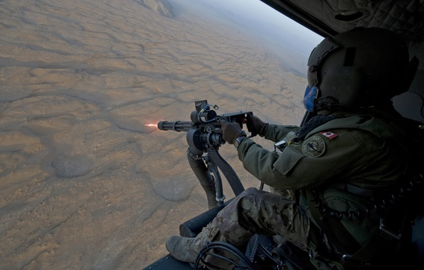 Picture soldiers, helicopter, machine gun, Canada, soldier, the fire