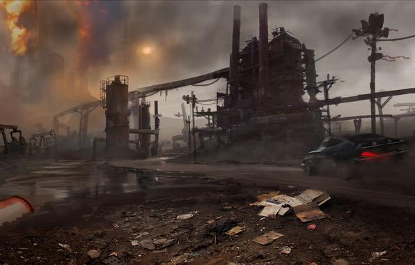Picture Sunset, Smoke, Fire, Machine, Crane, Art, Mad Max, Warner Bros. Interactive Entertainment, Pipe, Avalanche Studios, …