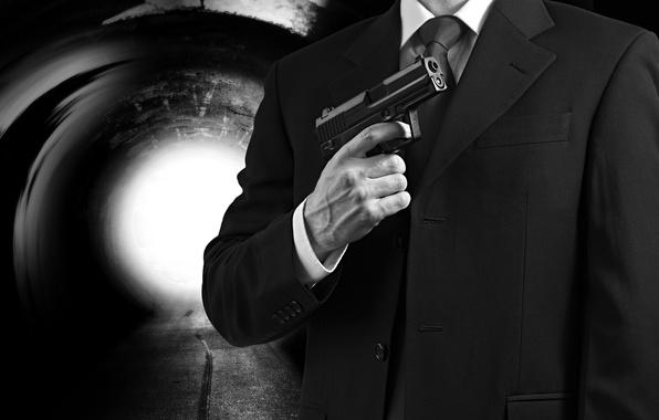 Picture gun, agent, suit