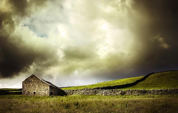 Picture field, landscape, house