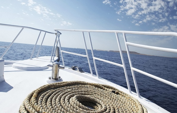 Picture sea, yacht, rope, breeze