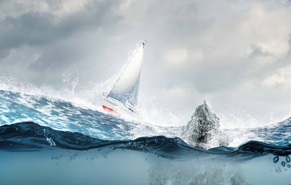 Picture sea, wave, squirt, sailboat