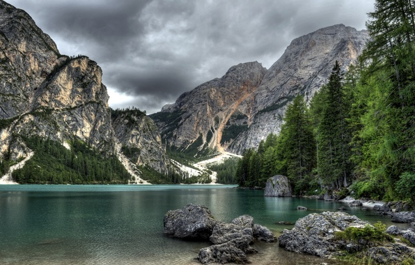 Photo wallpaper forest, grass, landscape, mountains, nature, lake, stones, rocks, ate