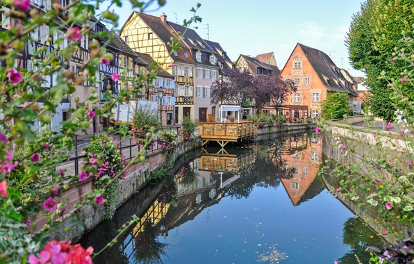 Picture flowers, river, France, home, Colmar
