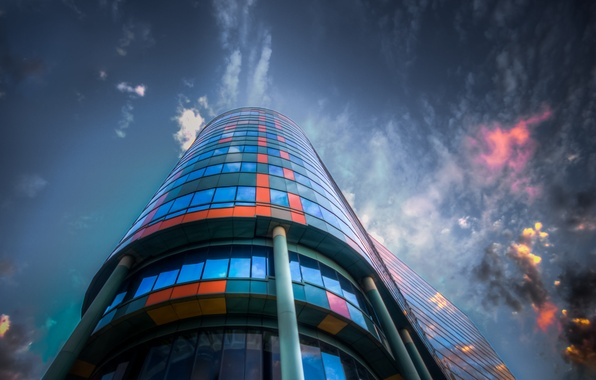 Picture the sky, glass, clouds, the city, reflection, the building, color