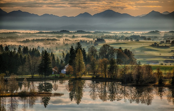 Picture autumn, trees, mountains, reflection, river, dawn, morning, Germany, Bayern, Germany, Bavaria, Wildsteig, Wildsteig