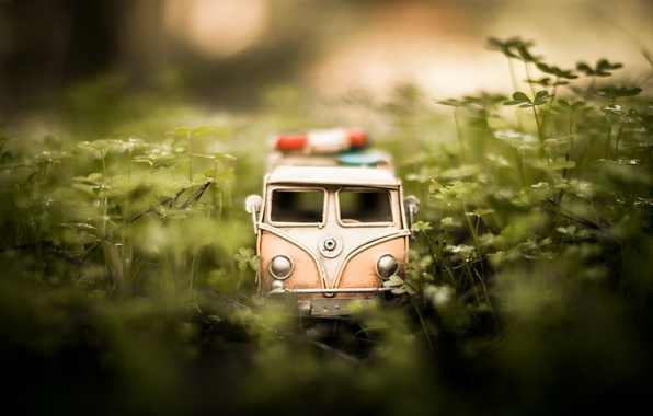 Picture grass, macro, model, toy, shooting, machine, photo, photographer, minibus, model, Jamie Frith