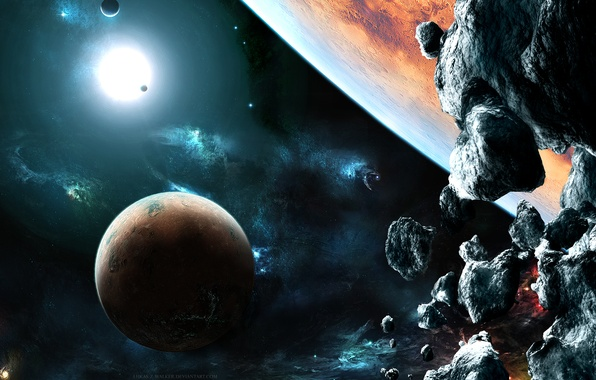 Picture lights, rocks, planets, stones, galaxies, asteroids, Sci fi