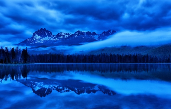 Picture the sky, clouds, trees, mountains, night, lake, reflection