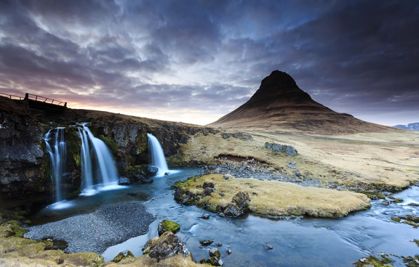 Picture clouds, sunset, river, mountain, waterfall, spring, the volcano, Iceland, Kirkjufell