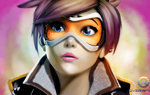 Picture girl, face, glasses, blizzard, art, tracer, overwatch, wool oxton