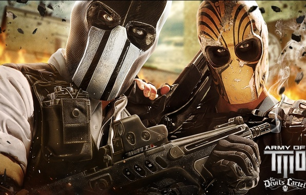 Picture wallpaper, fire, sake, flame, game, army of two, soldiers, weapon, war, shotgun, rifle, mask, the …