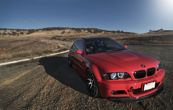 Picture roof, light, red, bmw, BMW, red, front view, Luke, day, e46