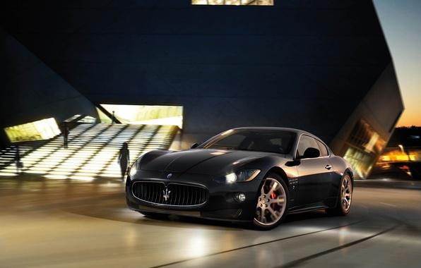 Picture Maserati, Black, Night, The building, Lights, GranTurismo, Blur