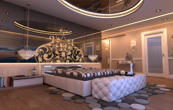 Picture design, style, room, books, bed, interior, mirror, lighting, bedroom, Istanbul, Istanbul