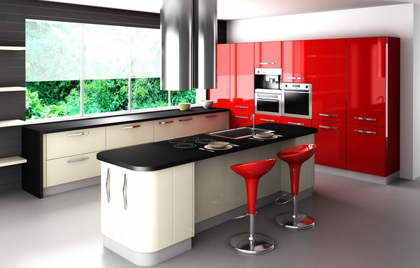 Picture red, style, table, chairs, window, kitchen, headsets