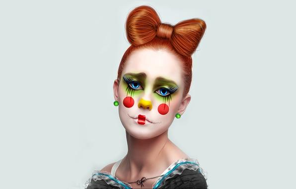 Picture girl, earrings, clown, red hair, bow, seams, Clown