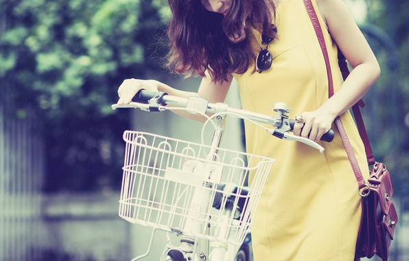 Picture girl, bike, smile, background, basket, mood, dress, brunette, glasses, yellow, HD wallpapers, oboe for your …