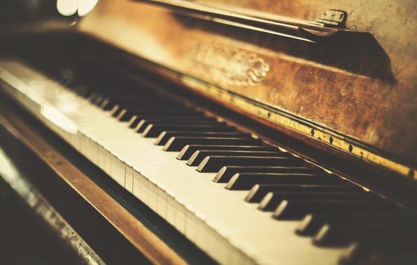 Picture retro, keys, old, piano, photo, retro, vintage, old, plan, Vintage