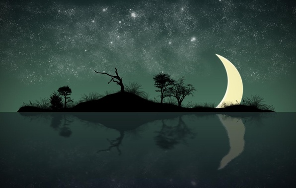 Picture stars, light, island, a month, Night