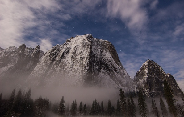 Picture forest, the sky, stars, snow, mountains, haze, USA, national Park, Yosemite National Park