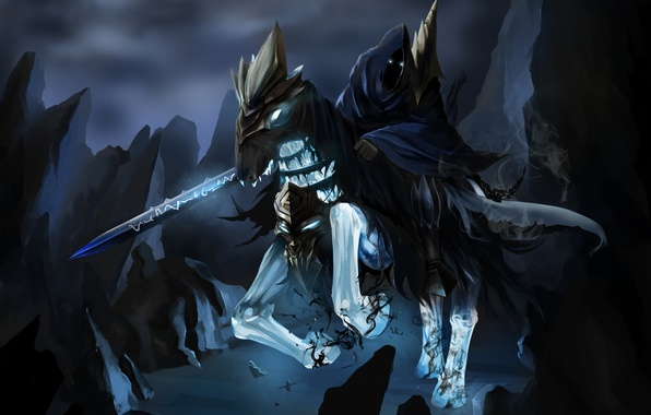wallpaper horse art rider abaddon lord of avernus sword dota