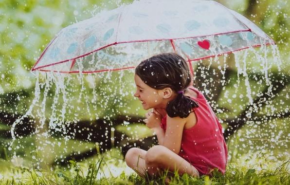 Picture rain, umbrella, girl