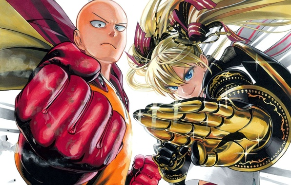 wallpaper girl anime bald gloves cloak two stand one punch
