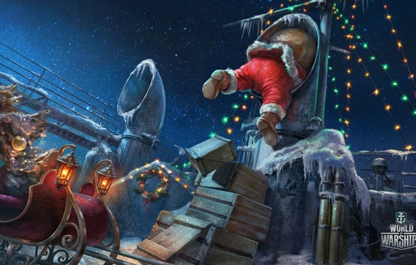 Picture ice, sea, the sky, stars, night, lights, ship, new year, pipe, boxes, deck, sleigh, Santa …