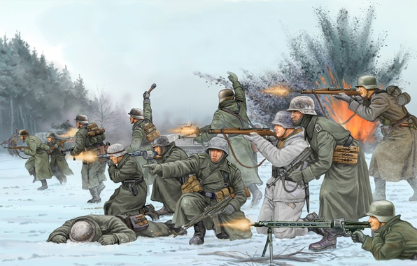 Picture art, soldiers, Belgium, the battle, game, the, the Germans, Flames of War, WW2., 1944, troops, …
