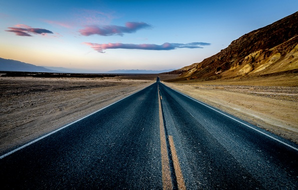 Picture rock, road, desert, sunset, mountain, sand, dusk, highway