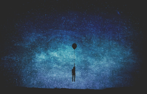 Picture stars, balloon, male, The Milky Way, secrets