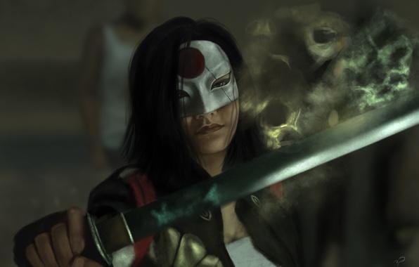 Picture girl, sword, mask, art, Katana, Suicide Squad, Suicide squad, Karen Fukuhara