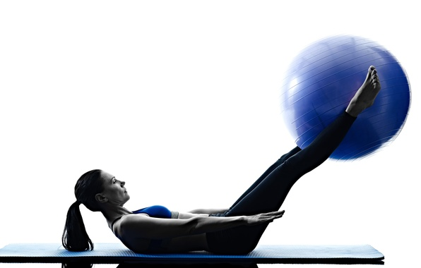Picture woman, ball, workout, pilates