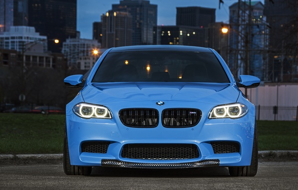Picture blue, BMW, BMW, the front, f10, running lights, Yas Marina Blue
