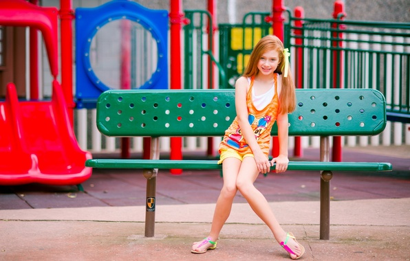 Picture summer, street, girl, bench