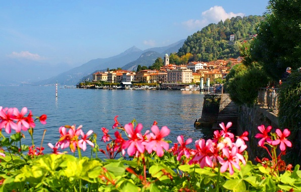 Picture the sky, flowers, mountains, the city, lake, home, Italy, italy, Como, lake como
