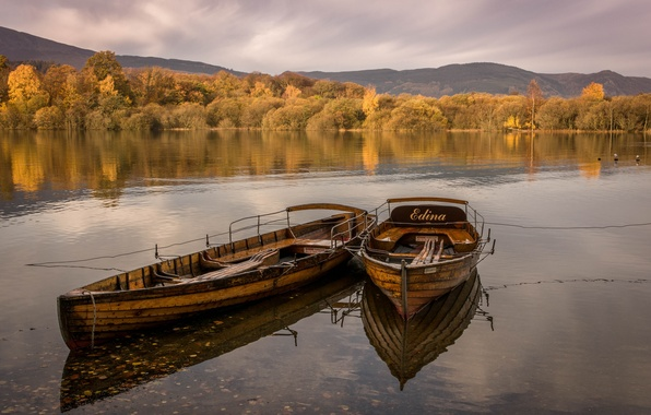 Picture autumn, the sky, clouds, trees, lake, boat