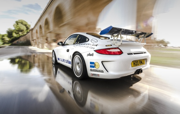 Picture reflection, speed, 997, Porsche, white, sports car, Porsche, Carrera S, EurocupGT, 3.8