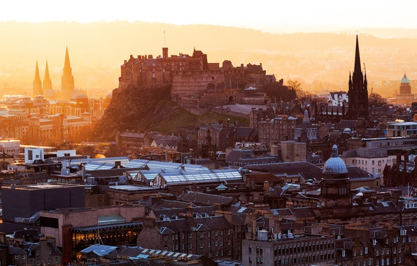 Picture the city, dawn, building, home, morning, roof, Scotland, UK, fortress, architecture, Scotland, Edinburgh, Edinburgh, Great ...