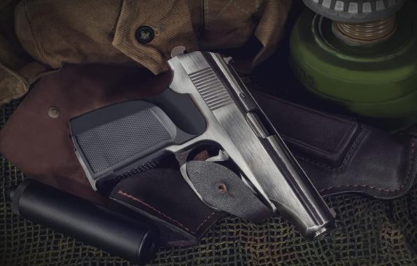 Picture gun, blur, USSR, camouflage, Russia, shop, muffler, equipment, ammunition, bokeh, wallpaper., upgraded, Makarova, piercing, 9x18, …