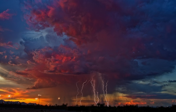 Picture the storm, the sky, clouds, zipper, the evening, AZ