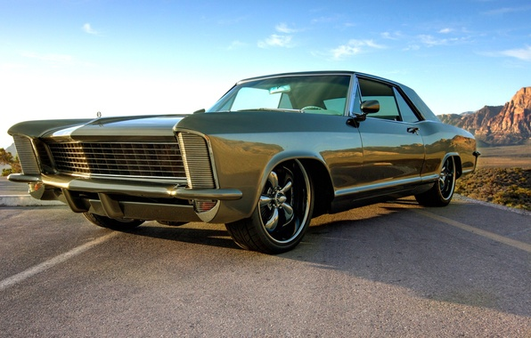 Picture the sky, green, Buick, 1965, muscle car, Riviera, Riviera, Buick, green metallic