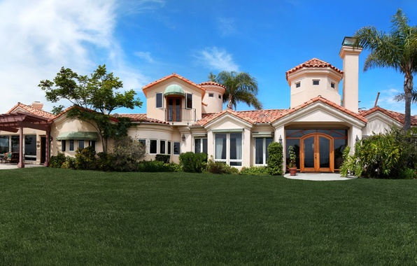 Picture grass, house, palm trees, CA, USA, mansion, the bushes, lawn, Laguna Niguel
