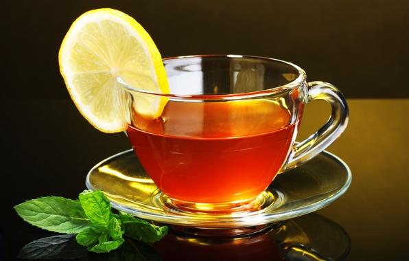 Picture glass, lemon, tea, Cup, lemon, black background, saucer, tea