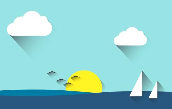 Picture sea, the sky, the sun, clouds, landscape, birds, sail