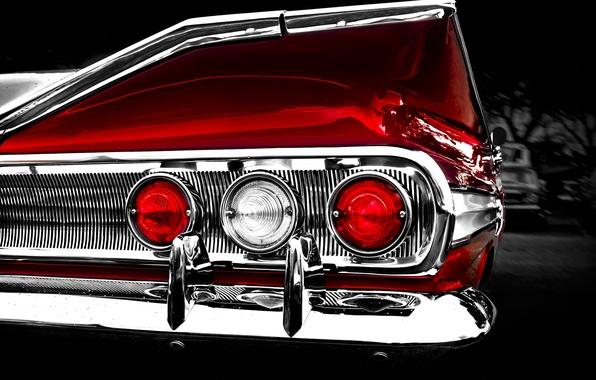 Picture retro, reflection, background, lights, Chevrolet, 1960, Chevrolet, classic, impala, rear lights, chrome parts