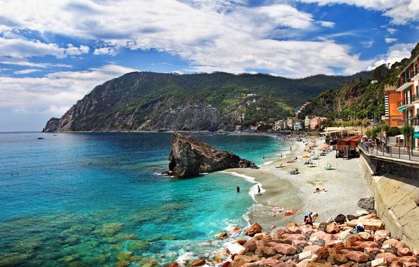 Picture sea, beach, landscape, mountains, nature, rocks, coast, home, Italy, Italy, Monterosso al Mare, Monterosso al …