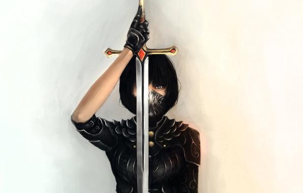 Picture girl, sword, mask, art, blade