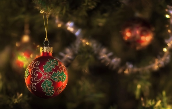 Picture red, pattern, toy, new year, ball, spruce, focus, tree, tinsel